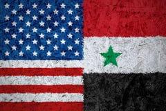EUA e bandeiras de Síria Fotografia de Stock