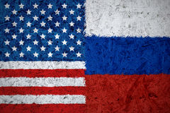EUA e bandeiras do russo Fotos de Stock Royalty Free
