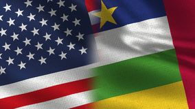 EUA e bandeiras realísticas da república de África central meias junto ilustração royalty free