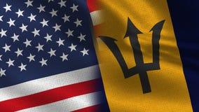 EUA e bandeiras realísticas de Barbados meias junto ilustração royalty free