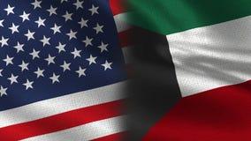 EUA e bandeiras realísticas de Kuwait meias junto fotos de stock