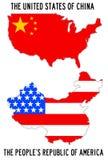 EUA e China Fotos de Stock Royalty Free