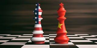 EUA e conceito da cooperação de China EUA e bandeiras de China em reis da xadrez ilustração 3D ilustração do vetor