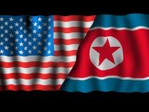 EUA e Coreia do Norte Bandeiras de ondulação do Estados Unidos da América e da Coreia do Norte junto no preto dramático ilustração do vetor