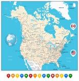 EUA e mapa político detalhado de Canadá grande com ponteiros do mapa Fotografia de Stock Royalty Free