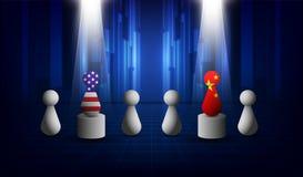 EUA e relações comerciais de China, estratégia da cooperação E.U. América e bandeiras de China Ilustração do vetor ilustração do vetor