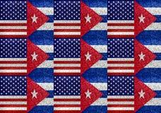 EUA e teste padrão unido bandeira de Cuba Imagens de Stock