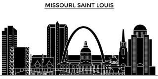 EUA, Missouri, skyline da cidade do vetor da arquitetura do Saint Louis, arquitetura da cidade do curso com marcos, construções,  ilustração stock