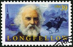 EUA - 2007: mostras Henry Wadsworth Longfellow 1807-1882, poeta americano imagens de stock