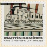 EUA - 2015: mostras intitulados, trens em trilhas Inclined por Martin Ramirez 1895-1963 auto-ensinado o artista fotografia de stock royalty free
