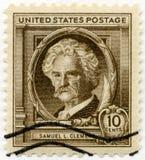 EUA - 1940: mostras Samuel Langhorne Clemens Mark Twain (1835-1910), autores famosos dos americanos Imagens de Stock Royalty Free