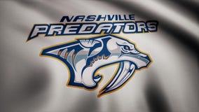 EUA - NEW YORK, o 12 de agosto de 2018: Bandeira de ondulação com logotipo da equipa de hóquei do NHL dos predadores de Nashville ilustração royalty free