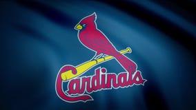 EUA - NEW YORK, o 12 de agosto de 2018: Bandeira de ondulação com logotipo profissional da equipe do St Louis Cardinals Close-up  ilustração do vetor
