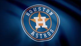 EUA - NEW YORK, o 12 de agosto de 2018: Bandeira de ondulação com logotipo profissional da equipe de Houston Astros Close-up da b ilustração stock