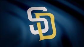 EUA - NEW YORK, o 12 de agosto de 2018: Bandeira de ondulação com logotipo profissional da equipe de San Diego Padres Close-up da ilustração do vetor