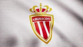 EUA - NEW YORK, o 12 de agosto de 2018: Close-up da bandeira de ondulação com COMO logotipo do clube do futebol de Mônaco FC, laç ilustração do vetor