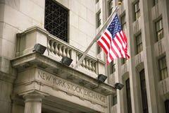 EUA, New York, Wallstreet, troca conservada em estoque Fotografia de Stock