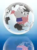 EUA no globo político Imagens de Stock