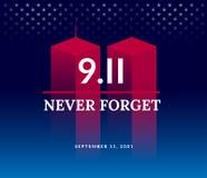 9/11 EUA nunca esquecem o 11 de setembro de 2001 Illu conceptual do vetor