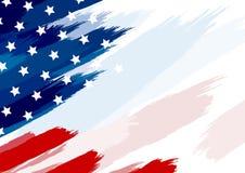EUA ou pincel da bandeira americana na ilustração branca do vetor do fundo ilustração do vetor