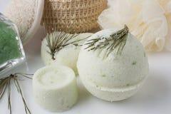 Eucalyptus bath bomb on a white Royalty Free Stock Photos