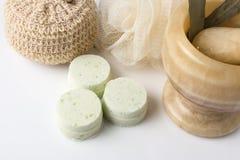 Eucalyptus bath bomb on a white Stock Photography