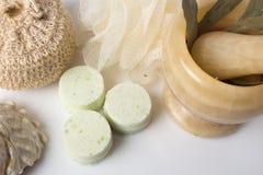 Eucalyptus bath bomb on a white Royalty Free Stock Photo