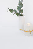 Eucalyptus branch in ceramic vase burning candle on white background, styled image, mockup Royalty Free Stock Photography