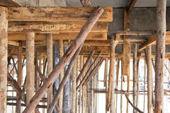 Eucalyptus prop. Bracing eucalyptus under beams  and concrete slabs Royalty Free Stock Images