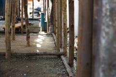 Eucalyptus prop. Bracing eucalyptus under beams  and concrete slabs Stock Photography