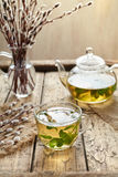 Eucalyptus tea with leaves in transparent cup and teapot Stock Images
