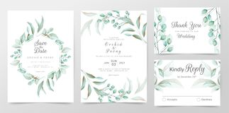 Eucalyptus wedding invitation cards template with watercolor herbs leaves decorative. Greenery floral frame save the date