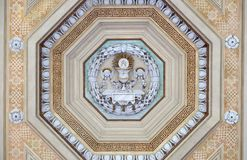 Eucharist chalice and wafer. Stucco decoration, basilica of Saint Paul Outside the Walls, Rome, Italy Royalty Free Stock Photography