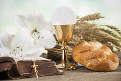 Sacrament of communion, Eucharist symbol. Eucharist, sacrament of communion background stock photos
