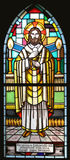 Eucharist. Stained glass church window stock photo