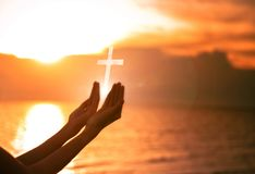 Eucharist Therapy Bless God Helping Repent Catholic Easter Lent Mind Pray. Christian Human hands open palm up worship hope. Jesus. Hands praying. Human hands royalty free stock image