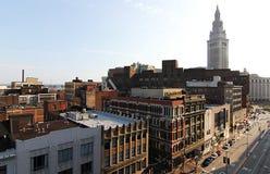 Euclid aveny och det slutliga tornet, Cleveland, Ohio Royaltyfria Foton