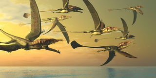 Eudimorphodon Dinosaur Flock Royalty Free Stock Photography