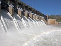 Eufaula Dam in Oklahoma. Scenic view of Eufaula Dam across Canadian river in Oklahoma, U.S.A stock photography
