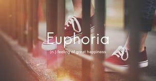 Euforia Czuje Wielkiego przyjemności szczęścia pojęcie zdjęcia royalty free