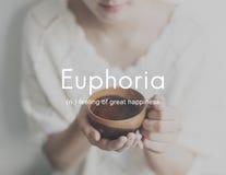 Euforia Czuje Wielkiego przyjemności szczęścia pojęcie obrazy royalty free