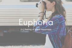 Euforia que sente o grande conceito da felicidade do prazer fotografia de stock