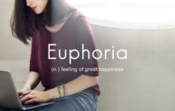 Euforia que sente o grande conceito da felicidade do prazer foto de stock