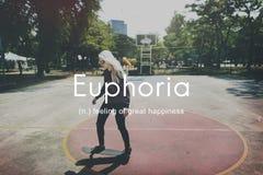 Euforia que sente o grande conceito da felicidade do prazer imagens de stock royalty free
