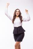 Euforyczny i młody bizneswomanu wyrażenie sukces Fotografia Stock