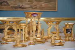 The Eugene de Beauharnais Porcelain Service in Hermitage Museum, St. Petersburg, Russia royalty free stock image