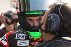 Eugene Laverty Aprilia RSV4 Aprilia Racing Team. Eugene Laverty rider  Aprilia RSV4 Aprilia Racing Team in the world Superbike Championship SBK Royalty Free Stock Photography