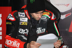 Eugene Laverty Aprilia RSV4 Aprilia Racing Team. Eugene Laverty rider  Aprilia RSV4 Aprilia Racing Team in the world Superbike Championship SBK Stock Images