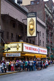 Eugene O'Neill Theatre  in New York City. NEW YORK CITY, USA - 30TH AUGUST 2014: The outside of the Eugene O'Neill Theatre in New York City showing large amounts Stock Photos