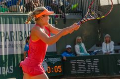 Eugenie Bouchard in second round match, Roland Garros 2014. Paris, France - May 30, 2014: Eugenie Bouchard of Canada during the 2nd round match at French Open Royalty Free Stock Image